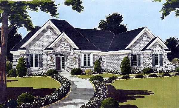 Bungalow, European, One-Story House Plan 97720 with 3 Beds, 2 Baths, 2 Car Garage Elevation