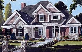 Bungalow , European House Plan 97722 with 4 Beds, 4 Baths, 2 Car Garage Elevation