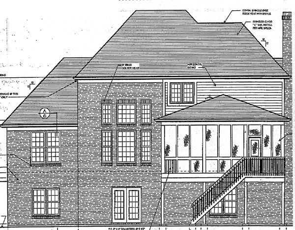 Bungalow European Rear Elevation of Plan 97722