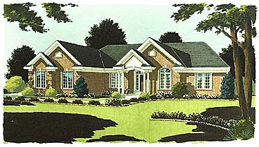 House Plan 97723 | Colonial Ranch Style Plan with 2063 Sq Ft, 3 Bedrooms, 2 Bathrooms, 2 Car Garage Elevation