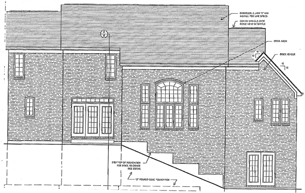 Tudor Rear Elevation of Plan 97725