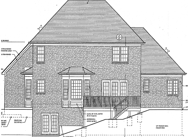 Colonial European House Plan 97735 Rear Elevation