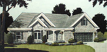 House Plan 97740 | European Ranch Traditional Style Plan with 1593 Sq Ft, 3 Bedrooms, 2 Bathrooms, 2 Car Garage Elevation