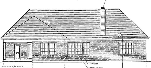 European Ranch Traditional House Plan 97740 Rear Elevation