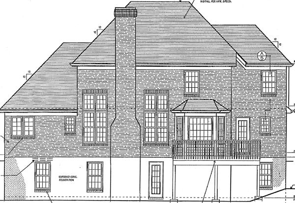 European Tudor House Plan 97748 Rear Elevation