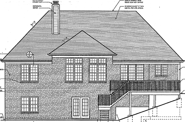 Traditional House Plan 97752 with 3 Beds, 3 Baths, 2 Car Garage Rear Elevation
