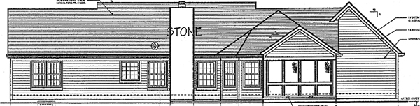 One-Story , Ranch , Rear Elevation of Plan 97755