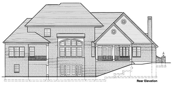 Colonial Rear Elevation of Plan 97756