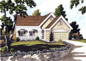 House Plan 97763 | Bungalow Style Plan with 1595 Sq Ft, 3 Bedrooms, 2 Bathrooms, 2 Car Garage Elevation
