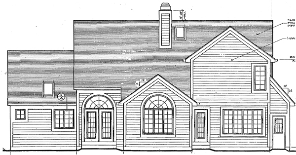 Bungalow House Plan 97771 with 3 Beds , 3 Baths , 2 Car Garage Rear Elevation