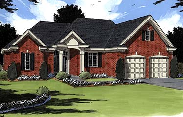 Colonial , European House Plan 97776 with 3 Beds, 3 Baths, 2 Car Garage Elevation