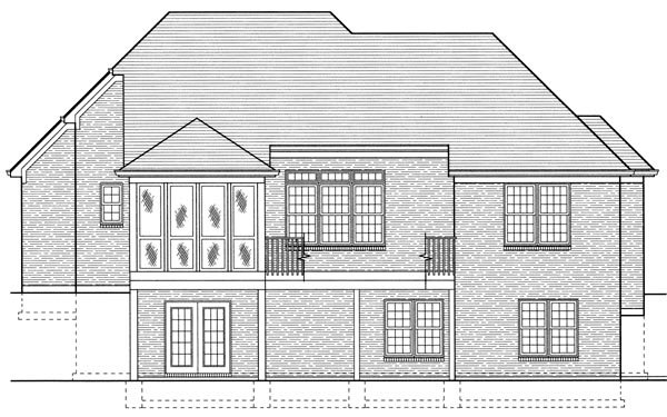 Colonial , European House Plan 97776 with 3 Beds, 3 Baths, 2 Car Garage Rear Elevation