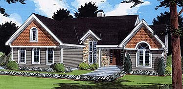 Bungalow House Plan 97778 with 3 Beds, 3 Baths, 3 Car Garage Elevation