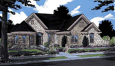 European, Traditional, House Plan 97796 with 3 Beds, 3 Baths, 2 Car Garage Elevation