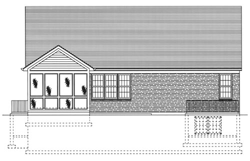 Traditional , Rear Elevation of Plan 97798