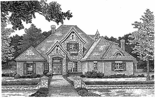 European Tudor House Plan 97801 Elevation