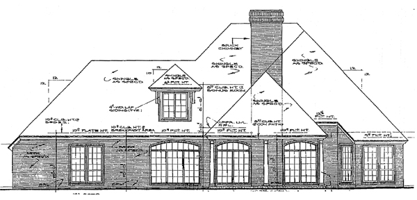 Bungalow European House Plan 97804 Rear Elevation