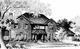Colonial, Traditional House Plan 97810 with 4 Beds, 3 Baths, 2 Car Garage Elevation