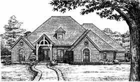 European House Plan 97811 with 3 Beds, 4 Baths, 3 Car Garage Front Elevation