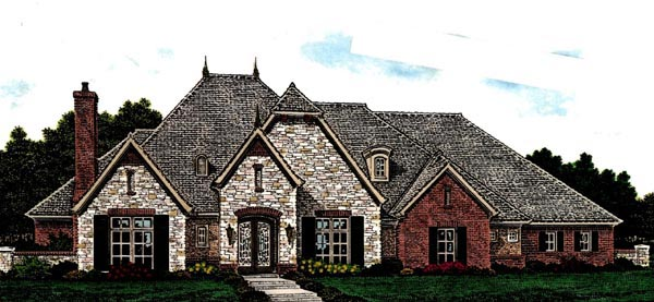 Country, European House Plan 97812 with 3 Beds, 3 Baths, 4 Car Garage Elevation