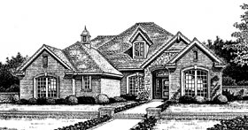 Bungalow , European House Plan 97815 with 4 Beds, 3 Baths, 3 Car Garage Elevation