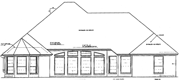 Bungalow , European , One-Story , Rear Elevation of Plan 97815