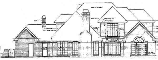 House Plan 97816 | Bungalow, Colonial, European Style House Plan with 2877 Sq Ft, 4 Bed, 4 Bath, 3 Car Garage Rear Elevation