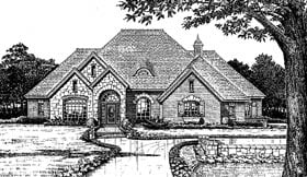 Bungalow, European House Plan 97817 with 4 Beds, 4 Baths, 3 Car Garage Elevation