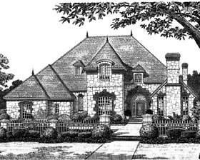 House Plan 97832 | European French Country Traditional Tudor Style Plan with 3984 Sq Ft, 4 Bed, 4 Bath, 2 Car Garage Elevation