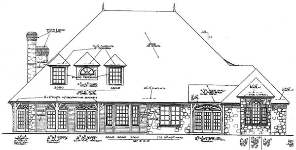 European French Country Traditional Tudor House Plan 97832 Rear Elevation