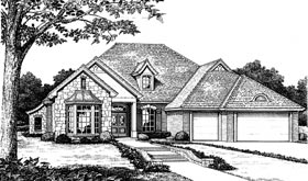 Craftsman, European, One-Story House Plan 97833 with 4 Beds, 3 Baths, 3 Car Garage Elevation