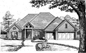 European House Plan 97834 with 4 Beds, 3 Baths, 3 Car Garage Elevation