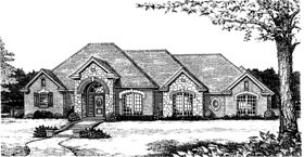 European House Plan 97840 with 3 Beds, 3 Baths, 3 Car Garage Elevation