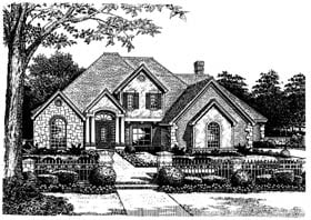 French Country , European , Colonial , Bungalow House Plan 97843 with 5 Beds, 5 Baths, 2 Car Garage Elevation