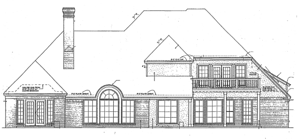 French Country , European , Colonial , Bungalow House Plan 97843 with 5 Beds, 5 Baths, 2 Car Garage Rear Elevation