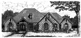 European, One-Story House Plan 97853 with 3 Beds, 3 Baths, 3 Car Garage Elevation