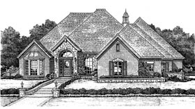 Bungalow , European House Plan 97855 with 3 Beds, 4 Baths, 3 Car Garage Elevation