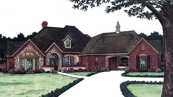 House Plan 97857 | Bungalow European Style Plan with 2332 Sq Ft, 3 Bedrooms, 3 Bathrooms, 2 Car Garage Elevation