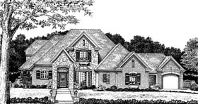 Bungalow , European , French Country House Plan 97859 with 4 Beds, 4 Baths, 3 Car Garage Elevation