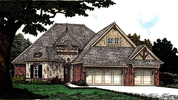 Country, European House Plan 97860 with 3 Beds, 3 Baths, 3 Car Garage Elevation