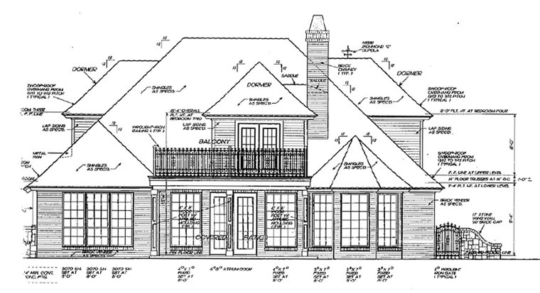 Bungalow European House Plan 97863 Rear Elevation