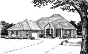 European, One-Story House Plan 97869 with 3 Beds, 3 Baths, 2 Car Garage Elevation