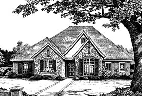 Bungalow, European, One-Story House Plan 97871 with 3 Beds, 3 Baths, 3 Car Garage Elevation