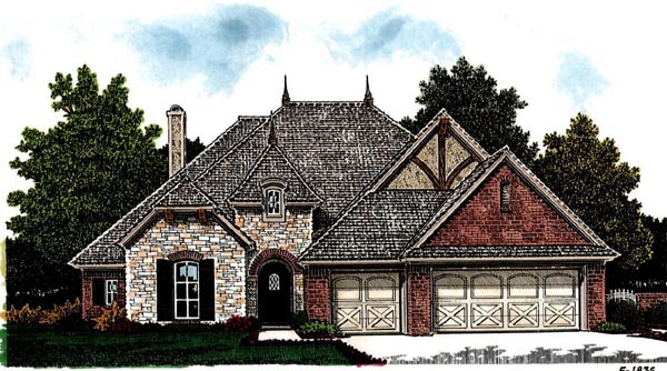 Country, European House Plan 97873 with 3 Beds, 3 Baths, 3 Car Garage Elevation