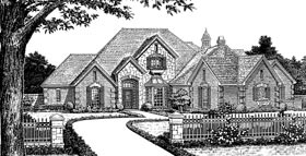 Bungalow , European , French Country House Plan 97874 with 4 Beds, 4 Baths, 3 Car Garage Elevation