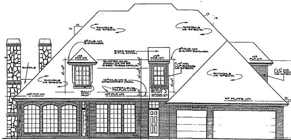 European, Tudor House Plan 97884 with 4 Beds, 4 Baths, 3 Car Garage Rear Elevation