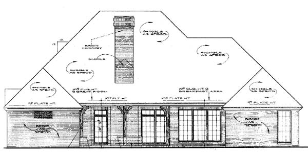 European House Plan 97885 Rear Elevation