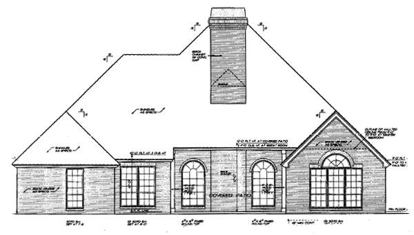 European House Plan 97887 Rear Elevation