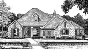 Bungalow, European, One-Story House Plan 97897 with 4 Beds, 3 Baths, 3 Car Garage Elevation