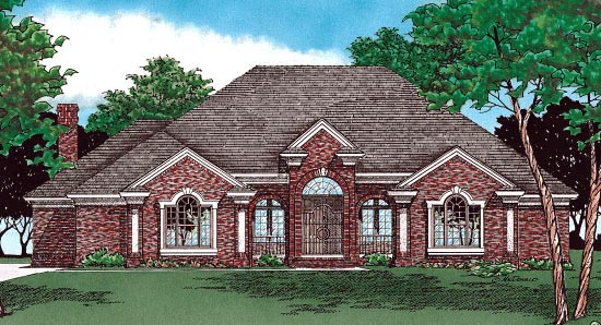 House Plan 97901 | European Style Plan with 2775 Sq Ft, 4 Bedrooms, 3 Bathrooms, 3 Car Garage Elevation